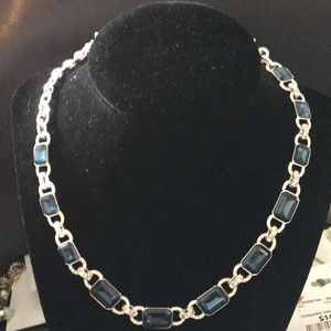 New Ralph Lauren Silver Crystal & Navy Stones Neck